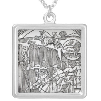 The Month of August, from a shepherd's calendar Silver Plated Necklace