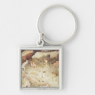 The Month of December Silver-Colored Square Key Ring