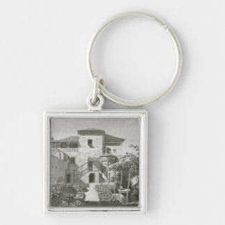 The Monument of Lysicrates in the garden of the Ca Silver-Colored Square Key Ring