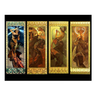 The Moon and The Stars vintage Mucha postcard