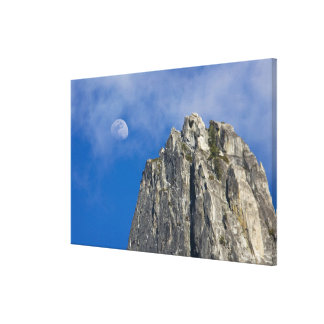 The moon rises and shines through the clouds canvas prints