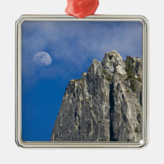 The moon rises and shines through the clouds Silver-Colored square decoration