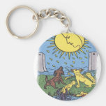 The Moon Tarot Card Howling Dogs Fortune Teller Basic Round Button Key Ring