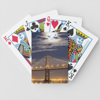 The moonrise tonight over the Bay Bridge Bicycle Playing Cards