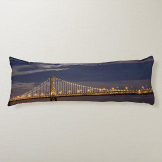 The moonrise tonight over the Bay Bridge Body Cushion