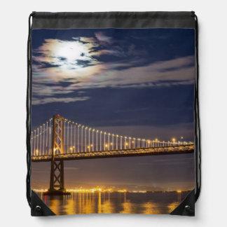 The moonrise tonight over the Bay Bridge Drawstring Bag