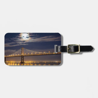 The moonrise tonight over the Bay Bridge Luggage Tag