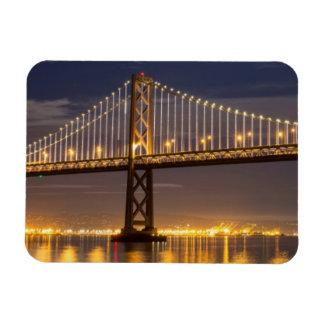 The moonrise tonight over the Bay Bridge Rectangular Magnet