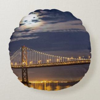 The moonrise tonight over the Bay Bridge Round Cushion