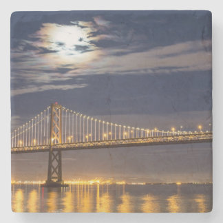 The moonrise tonight over the Bay Bridge Stone Coaster