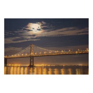 The moonrise tonight over the Bay Bridge Wood Wall Art