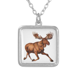 THE MOOSE IS LOOSE SILVER PLATED NECKLACE