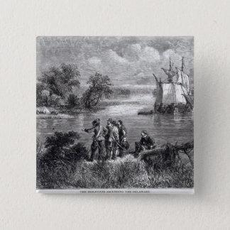 The Moravians Ascending the Delaware 15 Cm Square Badge