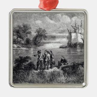The Moravians Ascending the Delaware Silver-Colored Square Decoration