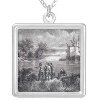 The Moravians Ascending the Delaware Silver Plated Necklace