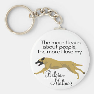The more I learn about people Basic Round Button Key Ring