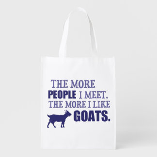 The More I Like Goats Reusable Grocery Bag