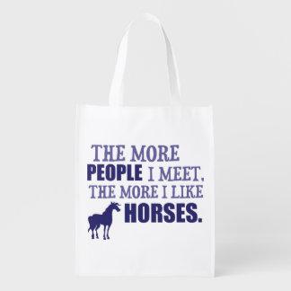 The More I Like Horses Reusable Grocery Bag