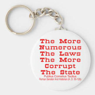 The More Numerous The Laws The More Corrupt The Basic Round Button Key Ring