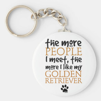 The More People I Meet ... Golden Retriever Key Ring