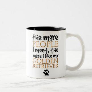 The More People I Meet ... Golden Retriever Two-Tone Coffee Mug