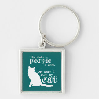 The More People I Meet the More I Like my Cat Silver-Colored Square Key Ring