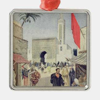 The Moroccan Pavilion at the Universal Exhibition Silver-Colored Square Decoration
