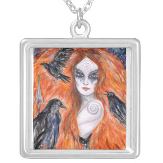 The Morrigan -  Warrior Queen Silver Plated Necklace