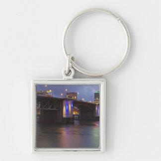 The Morrison bridge over the Willamette river Silver-Colored Square Key Ring