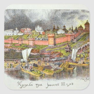 The Moscow Kremlin in the time of Tsar Ivan III Square Sticker