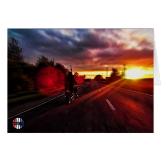 The motorcycle sunset card