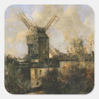 The Moulin de la Galette, Montmartre, 1861 Square Sticker
