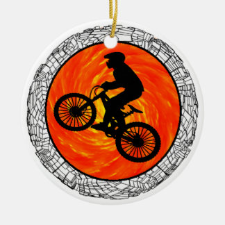 THE MOUNTAIN BIKERS ROUND CERAMIC DECORATION