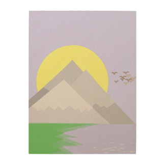 The mountains and the lake, with trees wood wall decor