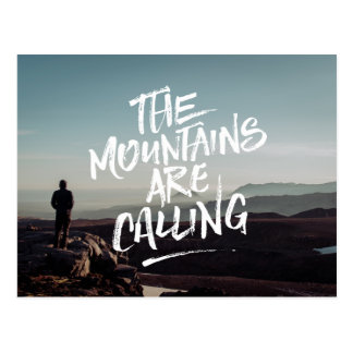 The Mountains Are Calling Lettering Photo Template Postcard