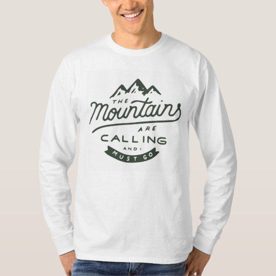 The Mountains Are Calling Long Sleeve T-Shirt (Whi