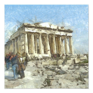 The much visited Acropolis 13 Cm X 13 Cm Square Invitation Card