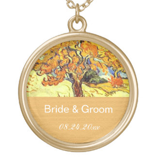 The Mulberry Tree groom & bride wedding necklace. Gold Plated Necklace