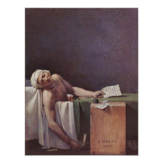 The murdered Marat by Jacques-Louis David Posters