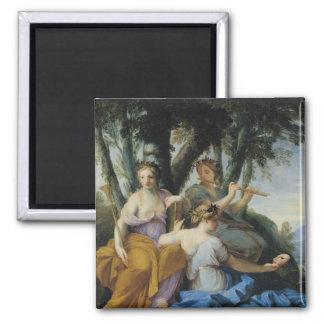The Muses, Clio, Euterpe and Thalia, c.1652-55 Square Magnet