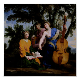 The Muses Melpomene, Erato and Polymnia, 1652-55 Poster