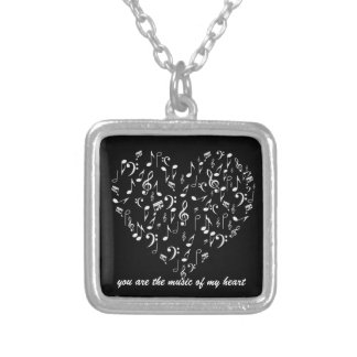 the music in my heart silver plated necklace