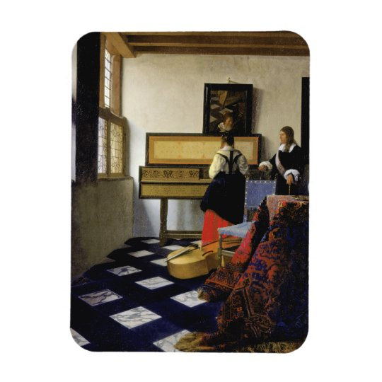 The Music Lesson by Johannes Vermeer Rectangular Photo Magnet