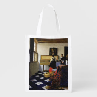 The Music Lesson by Johannes Vermeer Reusable Grocery Bag