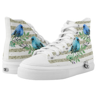 The musical palette of birds printed shoes