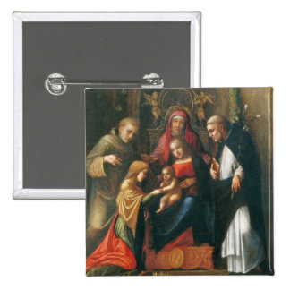 The Mystic Marriage of Saint Catherine 15 Cm Square Badge