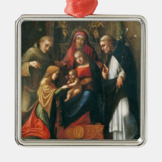 The Mystic Marriage of Saint Catherine Silver-Colored Square Decoration