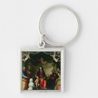 The Mystic Marriage of St. Catherine of Siena with Silver-Colored Square Key Ring