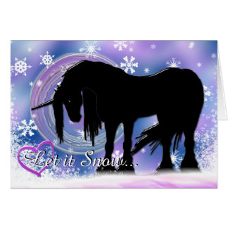 The Mystical Black Unicorn (Let It Snow) Greeting Card