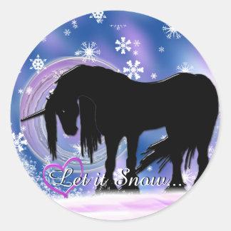 The Mystical Black Unicorn (Let It Snow) Round Sticker
